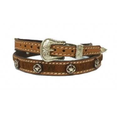 Twister Calf Hair With Silver Conchos Brown Distressed Hat Band