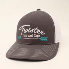 Twister Charcoal Snapback Cowboy Cap