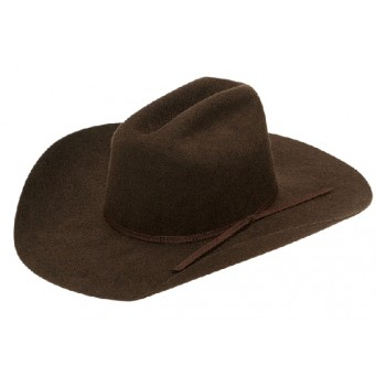 "Twister Kids Chocolate Cattleman Crown 4"" Brim Felt Cowboy Hat"