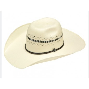 "Ariat Ivory and Black 4 1/2"" Brim Bangora Straw Cowboy Hat"