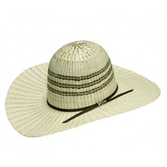 "Twister Bangora Open Crown 4 1/2"" Brim Two Tone Straw Cowboy Hat"