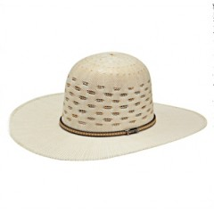 "Twister Two-Tone Bangora Open Crown 4 1/2"" Brim Straw Cowboy Hat"