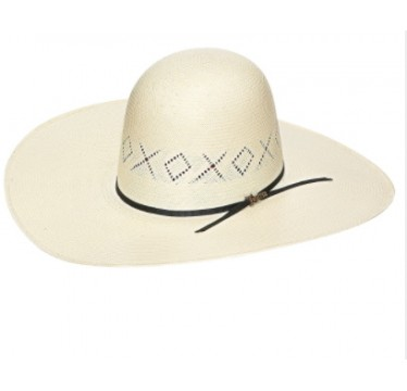 """Twister X's and O's Open Crown 4 1/2"""" Brim Straw Cowboy Hat"""