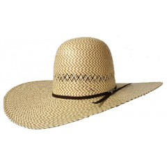 "Twister Two Tone Open Crown 5"" Brim Straw Cowboy Hat"