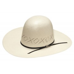 "Twister X's and O's Open Crown 4"" Brim Straw Cowboy Hat"