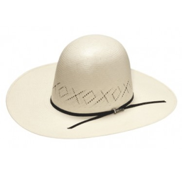 """Twister X's and O's Open Crown 4"""" Brim Straw Cowboy Hat"""