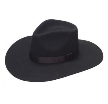Twister Ladies Pinch Front Black Wool Cowboy Hat