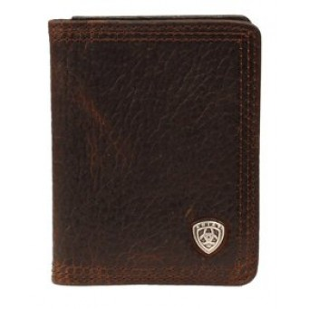 Ariat Dark Brown Rough Leather Bi-Fold Wallet