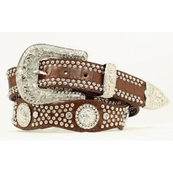 Nocona Belt Company Cut Glass Crystal and Crystal Concho Brown Crock Print Ladies Western Belt