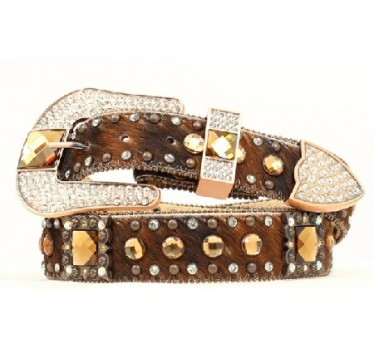 Nocona Belt Company Brown Hair On Amber Crystals Ladies Western Belt