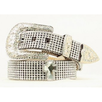 Nocona Belt Company Cut Glass Crystal and Crystal Cross Concho Ladies Western Belt