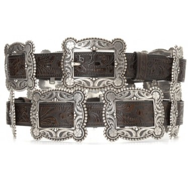 Nocona Belt Company Antique Silver Rectangle Concho Deep Chocolate Brown Tooled Ladies Western Belt