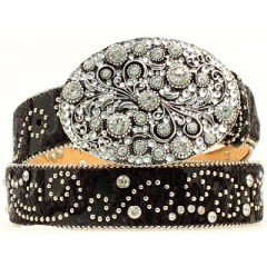 Nocona Belt Company Crystal Swirl Oval Buckle Ladies Western Belt