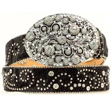 Nocona Belt Company Crystal Swirl Oval Buckle Ladies Western Belt