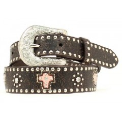Nocona Belt Company Pink Heart and Cross Dark Brown Leather Tooled Flower Buckle Girls Western Belt