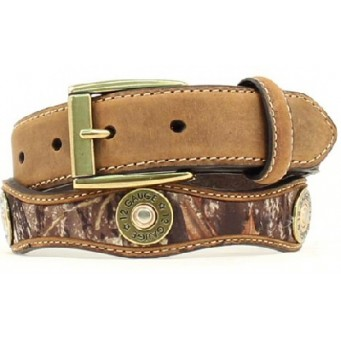 Nocona Belt Company Mossy Oak Brand Camouflage Tan Leather Shotgun Shell Boys Western Belt
