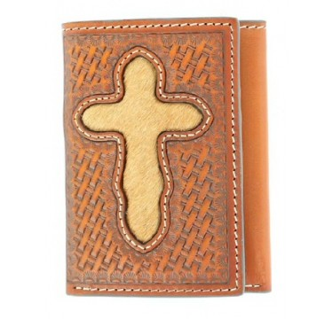 Nocona Belt Company Hair On Cross Inlay Tri-Fold Wallet