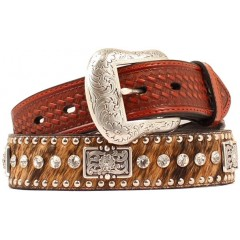 Nocona Belt Company Brown Hair On Rectangle Floral Concho AB Crystals Mens Western Belt