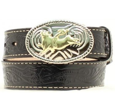 Nocona Belt Company Floral Stamped Black Leather Kids Western Belt
