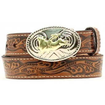 Nocona Belt Company Floral Stamped Brown Leather Kids Western Belt