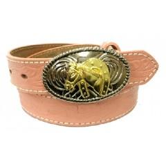 Nocona Belt Company Floral Stamped Pink Leather Girls Western Belt