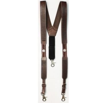 Nocona Belt Company Sorrel Star Concho Mens Western Suspenders