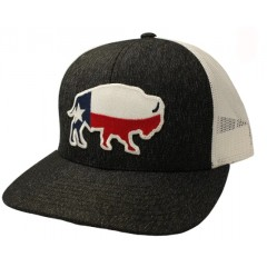 Red Dirt Hat Co. Texas Buffalo Heather Black/White Snapback Cowboy Cap