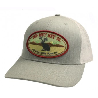 Red Dirt Hat Co. Jackalope Heather Grey/White Snapback Cowboy Cap