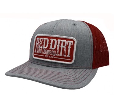 Red Dirt Hat Co. Tag Heather Grey/Red Snapback Cowboy Cap