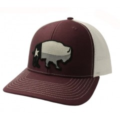 Red Dirt Hat Co. Texas Buffalo Maroon/White Snapback Cowboy Cap