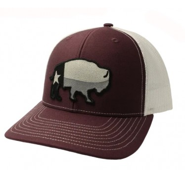Red Dirt Hat Co. Texas Buffalo Maroon/White Snapback Cowboy Cap