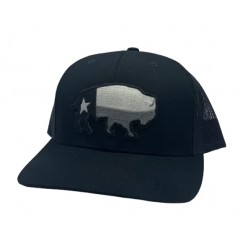 Red Dirt Hat Co. Texas Buffalo Greyscale Black/Black Cowboy Cap