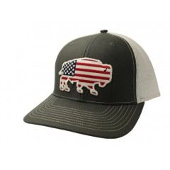 Red Dirt Hat Co. USA Buffalo Charcoal/White Snapback  Cowboy Cap