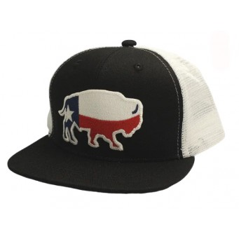 Red Dirt Hat Co. Texas Buffalo Black/White Youth Snapback Cowboy Cap