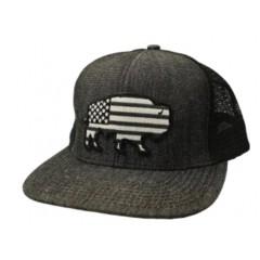 Red Dirt Hat Co. USA Buffalo Black Denim Snapback Cowboy Cap