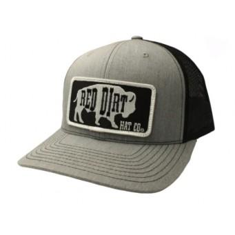 Red Dirt Hat Co. Black Original Buffalo Heather/Grey Snapback Cowboy Cap