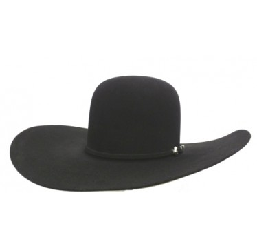 "Rodeo King 7X Black Open Crown 4 7/8"" Brim Felt Cowboy Hat"