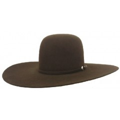 Rodeo King 7X Chocolate Open Crown 4 7/8 Brim Felt Cowboy Hat