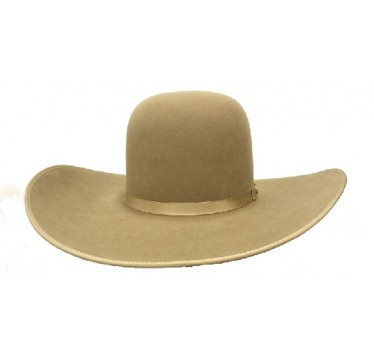 Rodeo King 7X Pecan Open Crown  4 7/8 Pecan Bound Edge Felt Cowboy Hat