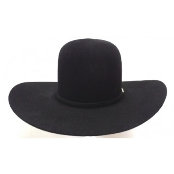 "Rodeo King 7X Black Open Crown 4 1/4"" Brim Felt Cowboy Hat"