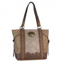 Trenditions Tan and Lace Handbag