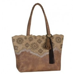Trenditions Tan with Laser Cut Designs Kensie Handbag
