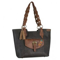 Trenditions Dark Chocolate with Embroidered Feather Purse
