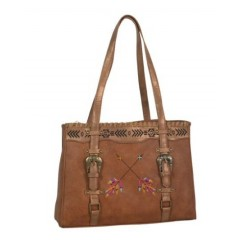 Trenditions Chestnut with Arrow Embroidery Purse