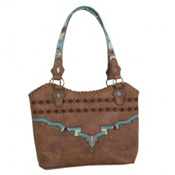 Trenditions Tan and Turquoise Aztec Purse