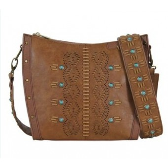 Trenditions Belle Chestnut Crossbody with Guitar Strap Purse
