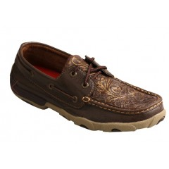 Twisted X Ladies Brown Embossed Floral Driving Mocs