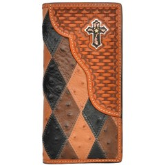 3D Patchwork Ostrich Print Leather with Basketweave Overlay Western Rodeo Wallet