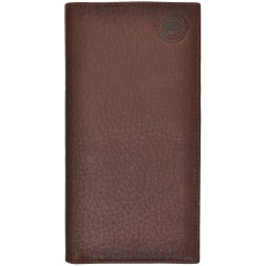 Justin Distressed Leather Wallet in Dark Brown