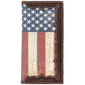 3D Brown hand-tooled rodeo wallet with vintage distressed American flag inlay